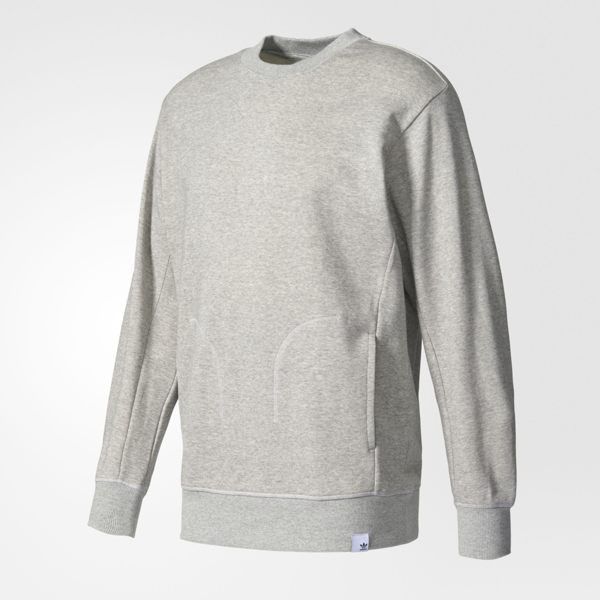 Adidas Originals XBYO Crew 男裝 上衣 長袖 大學T 棉質 口袋 灰 【運動世界】BQ3079