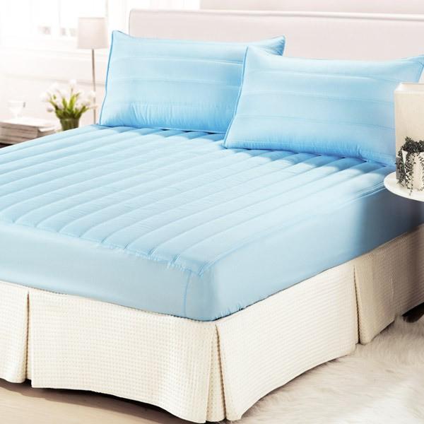 台灣精製專利防潑水表布單件床包式保潔墊/雙人/天藍色