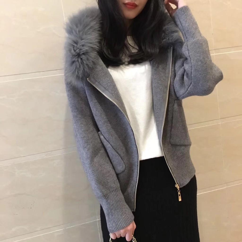 Modem Girl♥100%實拍 正韓 許願款 好質感 超美真狐狸毛領針織口袋外套 (特價)