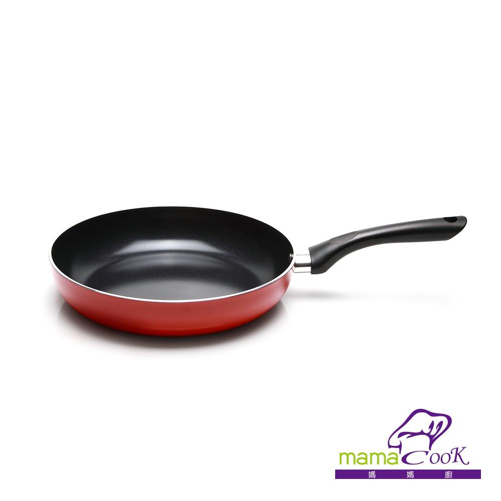 義大利Mama Cook 亮麗紅黑陶瓷不沾平底鍋26cm【蝦皮團購】
