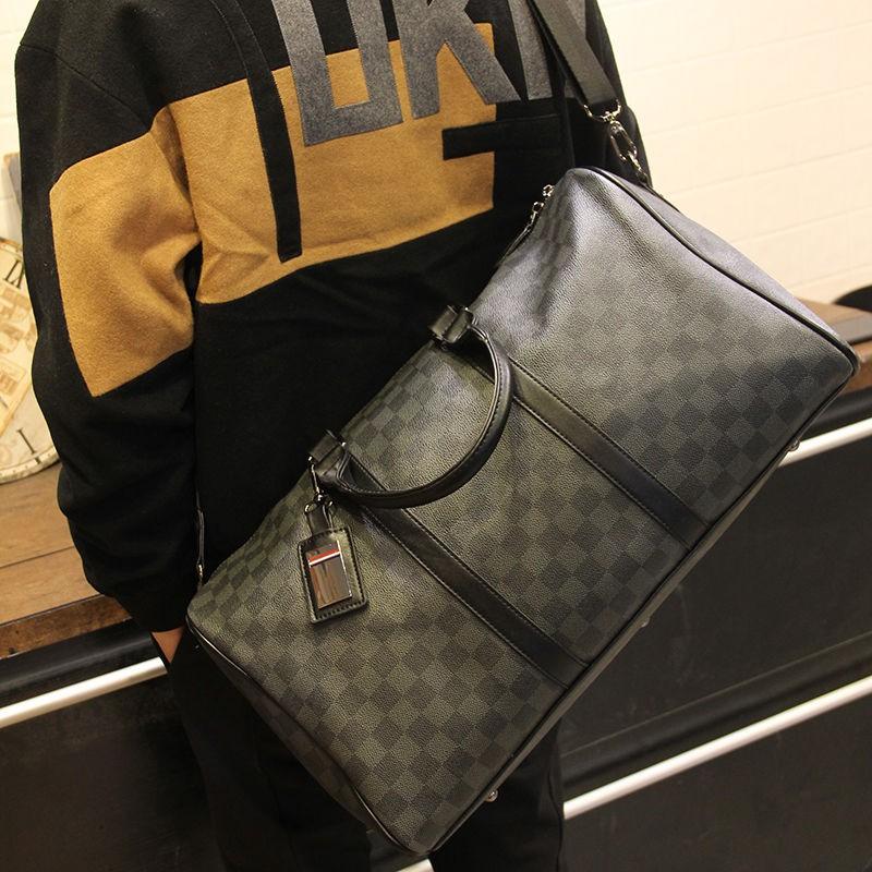 ∋▽格子手提包韓版新款單肩包男女士大容量短途旅游出差行李袋潮流