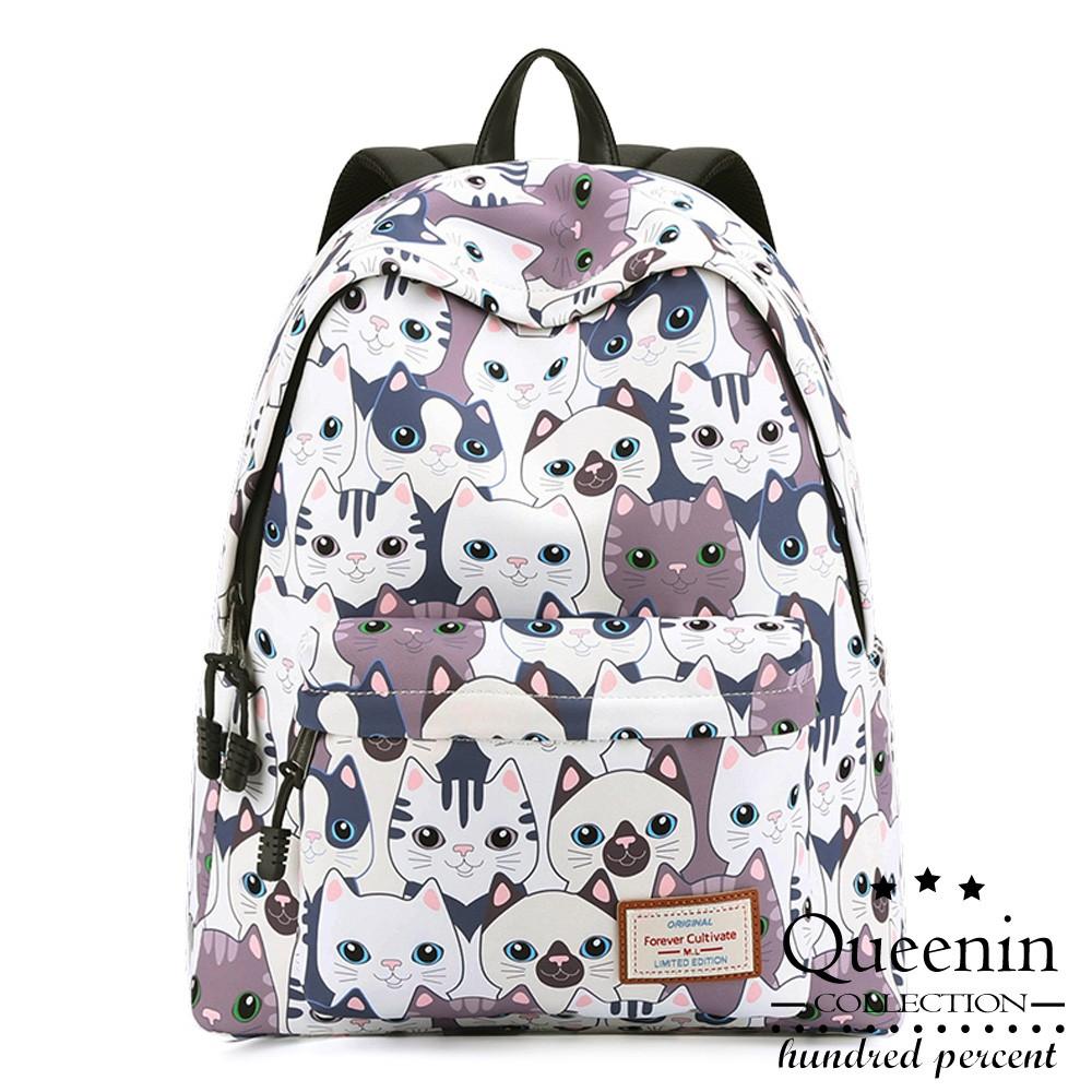 DF Queenin學院風雙肩學生後背包貓咪印花後背包
