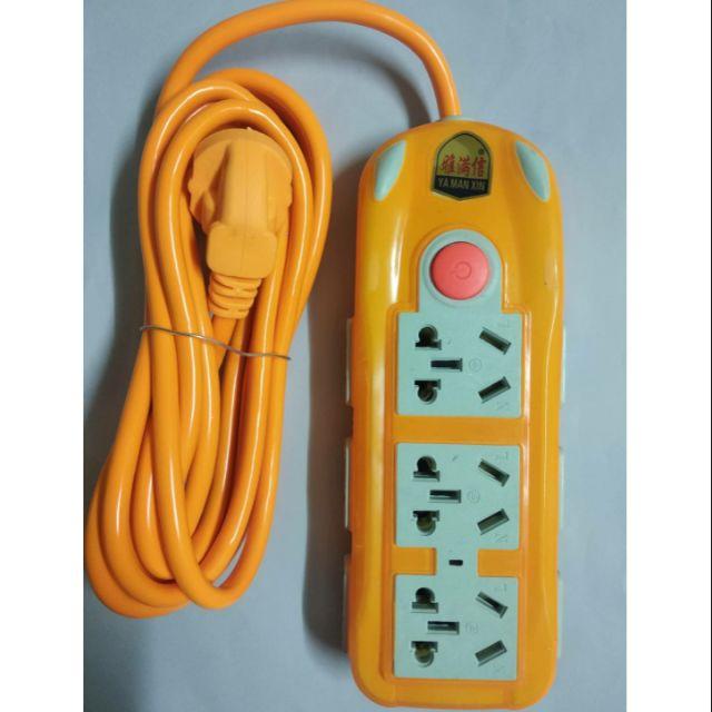 [現貨]220v中國大陸專用電源延長線,9個插座,3米帶開關,冷氣轉接頭