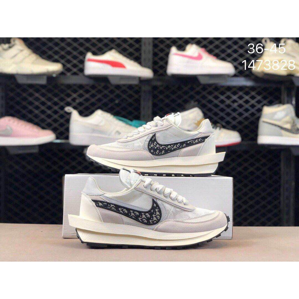Nike Ldwaffle/Sacai 華夫 Dior 雙勾標 網面透氣 舒適腳感 抗磨底復古休閒百搭跑步鞋#男鞋#女鞋