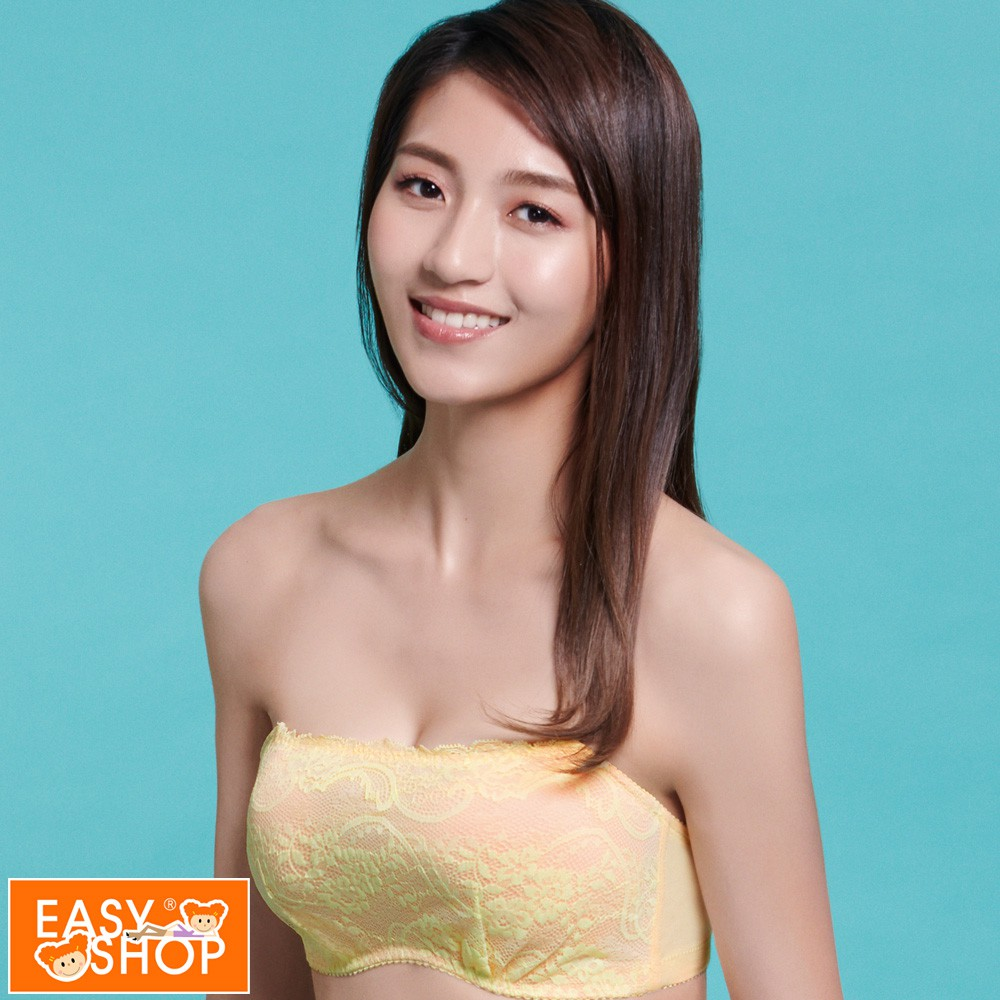 EASY SHOP-愛上夢幻蕾絲 抹胸款B-D罩內衣(雅緻黃)