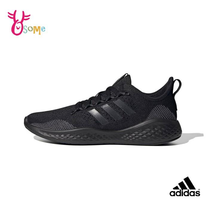 adidas跑步鞋 男鞋 FLUIDFLOW 2.0 透氣運動鞋 全黑運動鞋 慢跑鞋 耐磨底 跑鞋 T9326#黑色