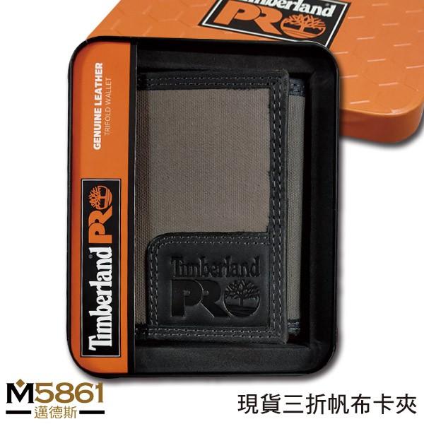 【Timberland】男皮夾 短夾 三折 帆布PRO款 牛皮夾 品牌盒裝/灰