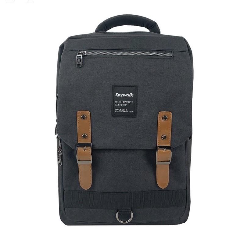 全新 SPYWALK 韓版型男簡約後背包 黑色多功能休閒包後背包 S5303 有USB孔  (非電腦包