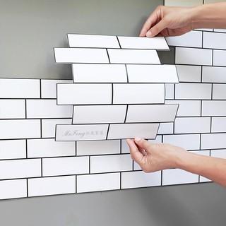 3D立體壁貼 白色紋磚,沐風家居【滿額免運】5mm加厚,防撞 牆貼 防水 瓷磚貼,臥室客廳家居裝飾壁紙 牆紙,30cm