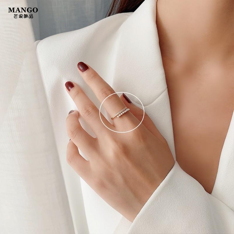 日韓輕奢時尚珍珠戒指 時尚個性食指戒指環 ins潮冷淡風戒指女 T1309