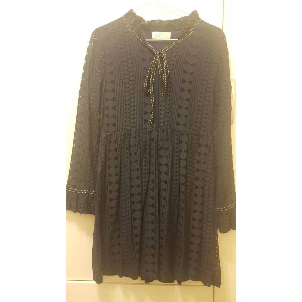 轉賣 YOCO 蕾絲荷葉領綁帶長袖洋裝 全新 深藍 (S)