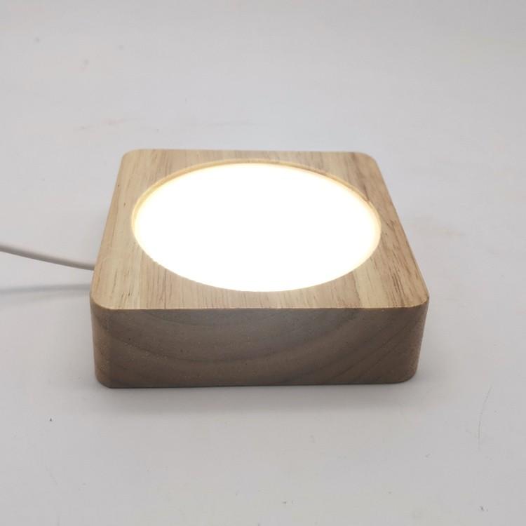 DIY燈座 現貨 發光水晶球玻璃底座LED七彩燈座正方形臺燈蛋雕球形創意擺件