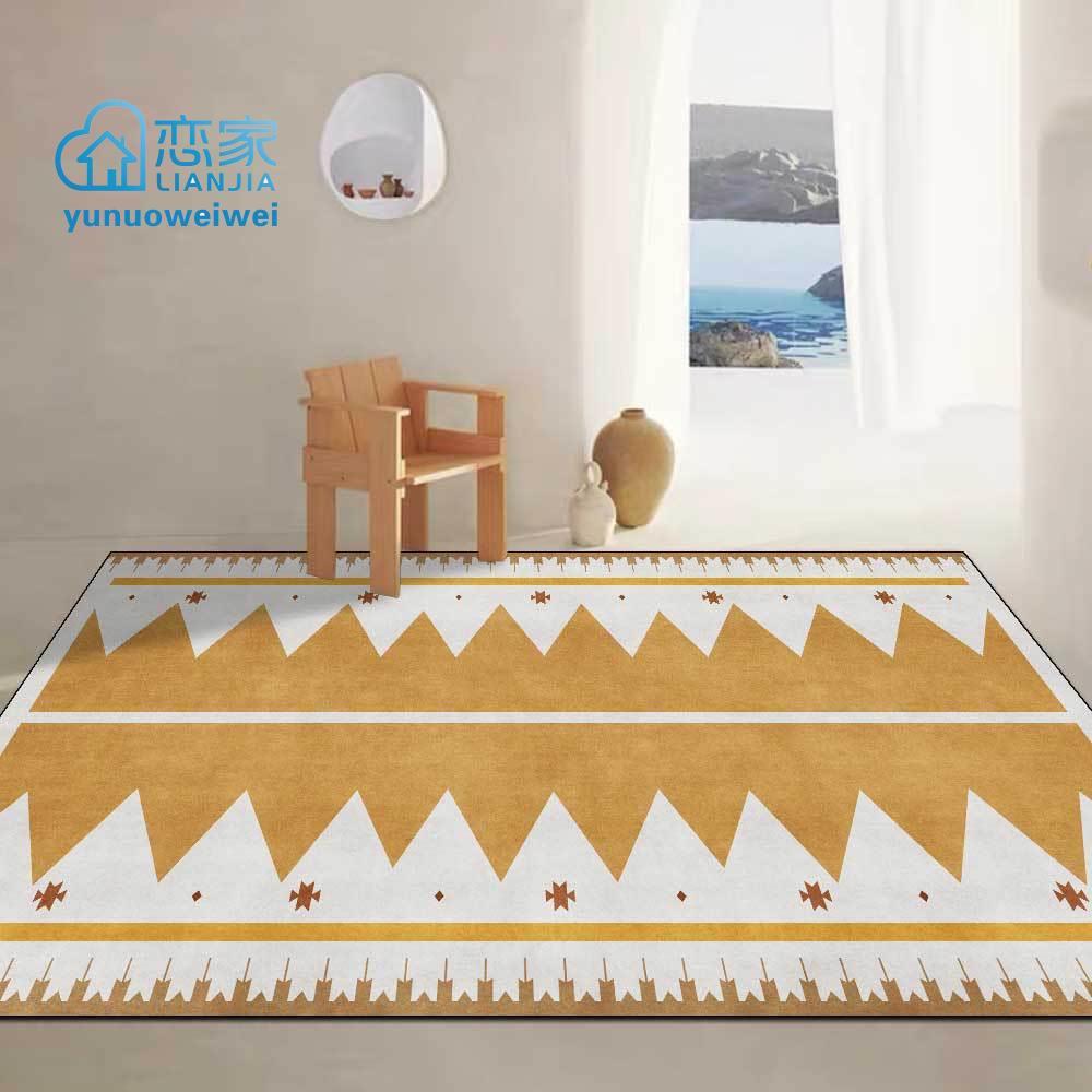 【戀家一慢生活家居】時尚金黃色簡約三角幾何民族風客廳臥室床邊地毯地墊定制