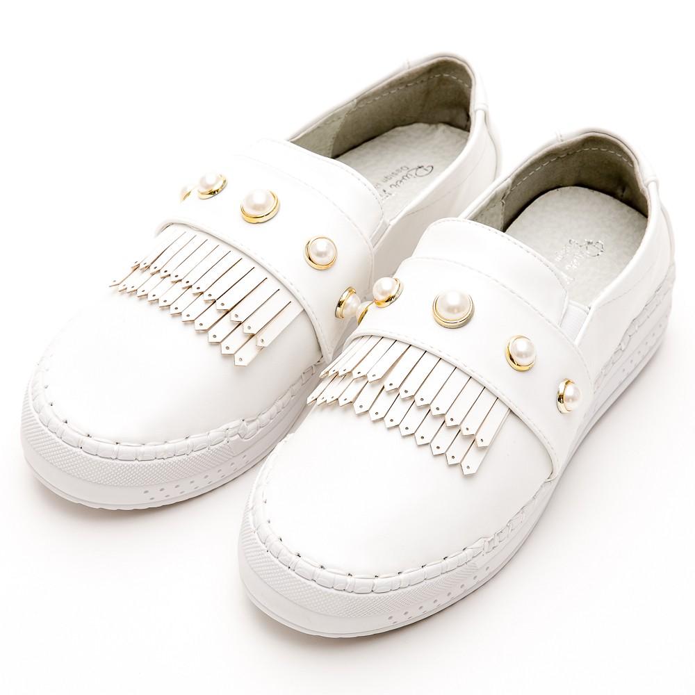 中大尺碼-韓版超軟縫線珍珠流蘇厚底休閒鞋-白RiverMoon