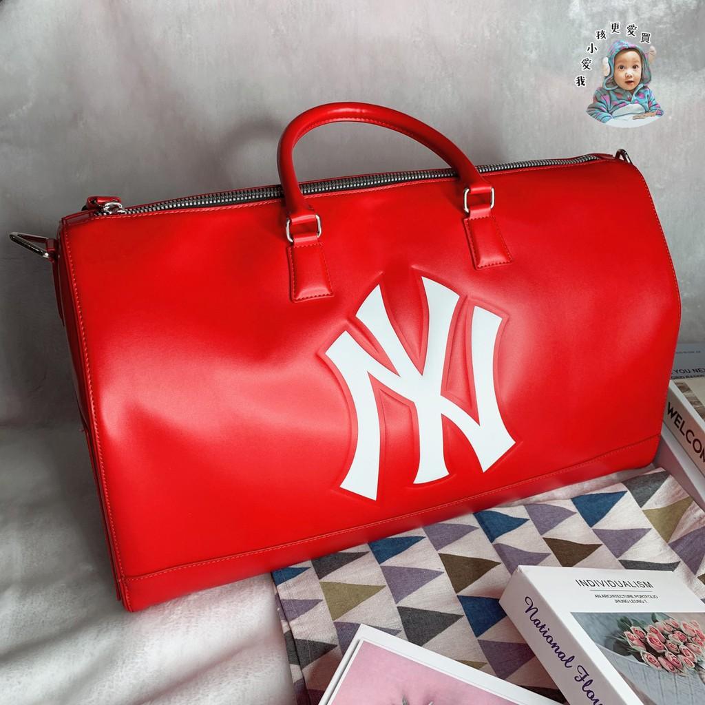 【我愛小孩更愛買】MLB NY 紐約洋基 YANKEES 波士頓包 旅遊 旅行袋 手提袋 紅 黑 男女 韓國代購 正品