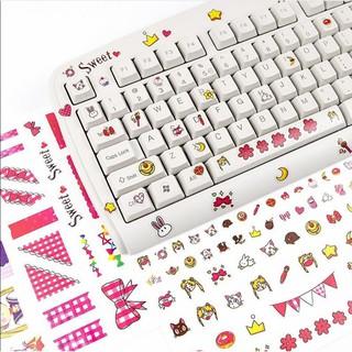 ✨創意鍵盤貼 臺式機筆記本電腦機械鍵盤美少女貼紙字母按鍵貼個性104鍵87鍵108 61鍵鍵盤貼貼膜鍵盤按鍵貼貼紙 臺中市