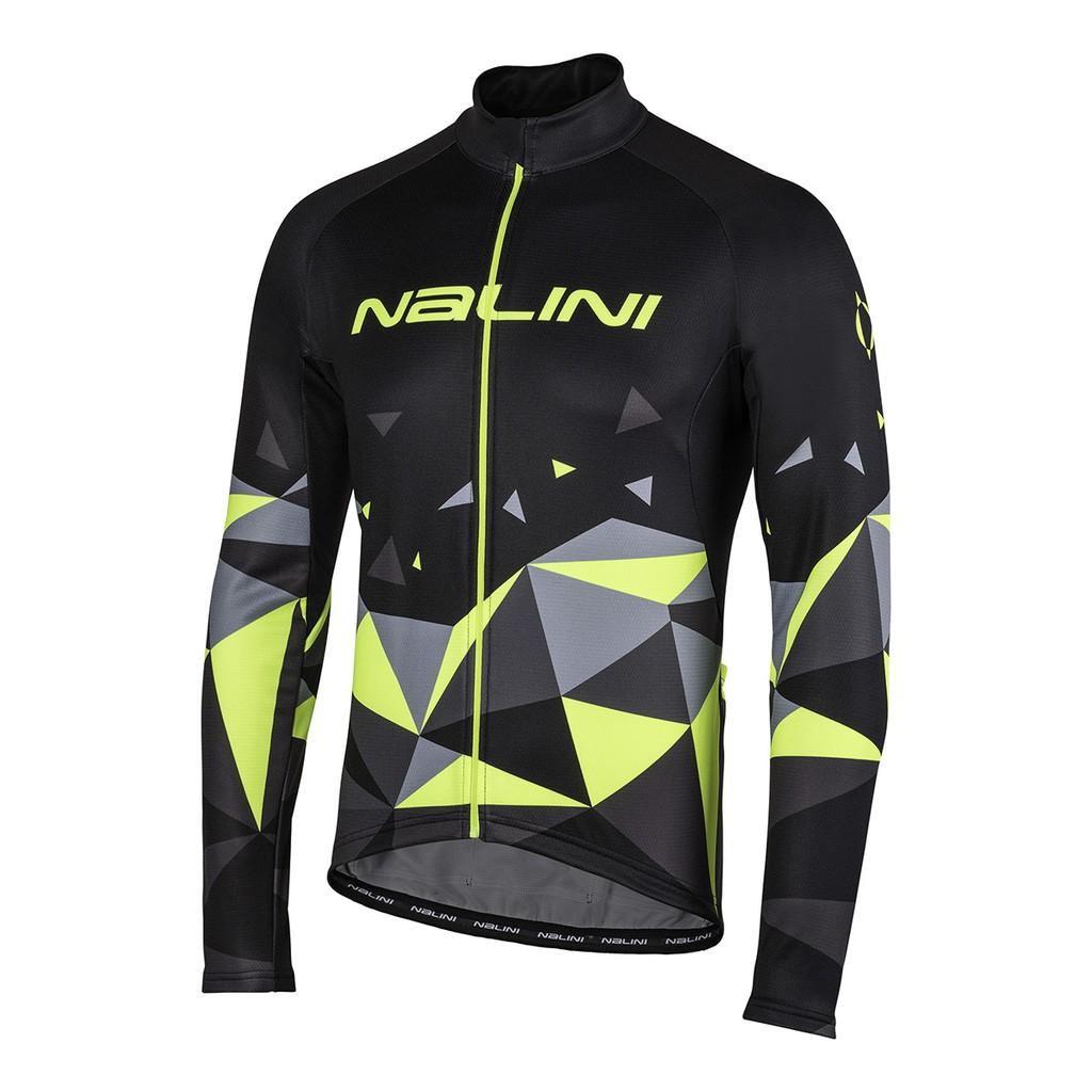 全新 公司貨 義大利 NALINI LOGO 男款長袖自行車車衣 快乾刷毛材質 螢光黃