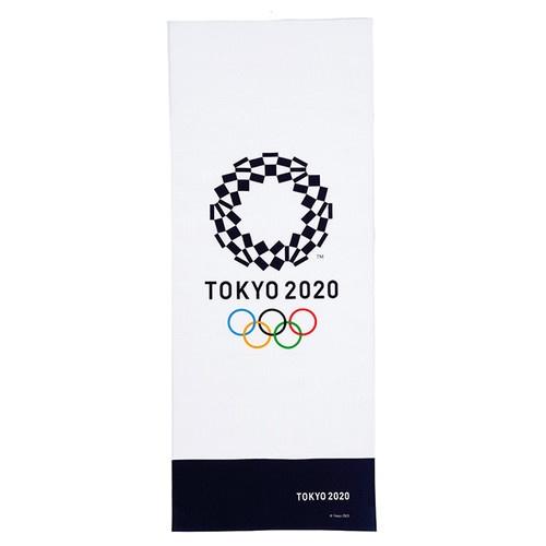 『Medianoche選物』2020東京奧運官方周邊商品 Tokyo2020 運動薄毛巾 藍白復古款