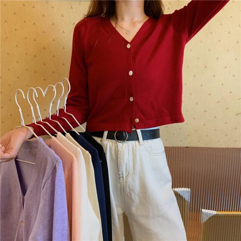 [免運]針織上衣 172366寬鬆短版長袖V領素色針織開衫