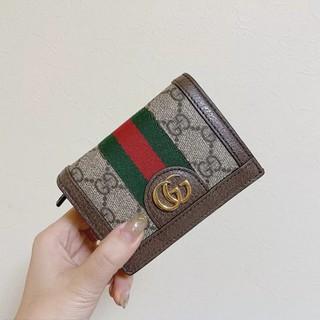 GUCCI短夾 頂級品質  Ophidia GG Card Case 對折短夾  綠紅綠 復古款 雙G錢包 女生短錢夾