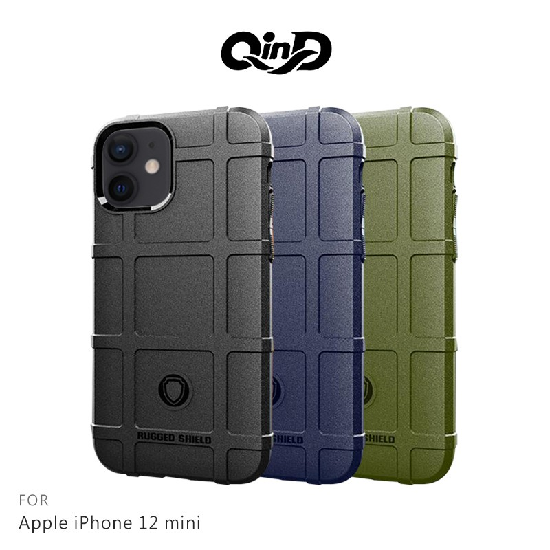 QinD Apple iPhone 12 mini 戰術護盾保護套 保護殼 防摔 蘋果 手機殼 鏡頭加高 軍工加厚