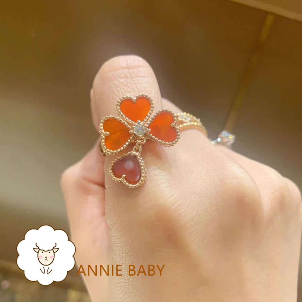安妮訂製①号店🎃Sweet Alhambra Effeuillage戒指#18K黃金#紅玉髓#戒指#鑽戒#VCA#