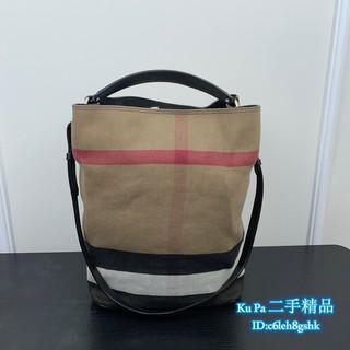 BURBERRY THE ASHBY CANVAS系列 格紋麻布拼皮革(可手提)大號水桶包/ 肩背包