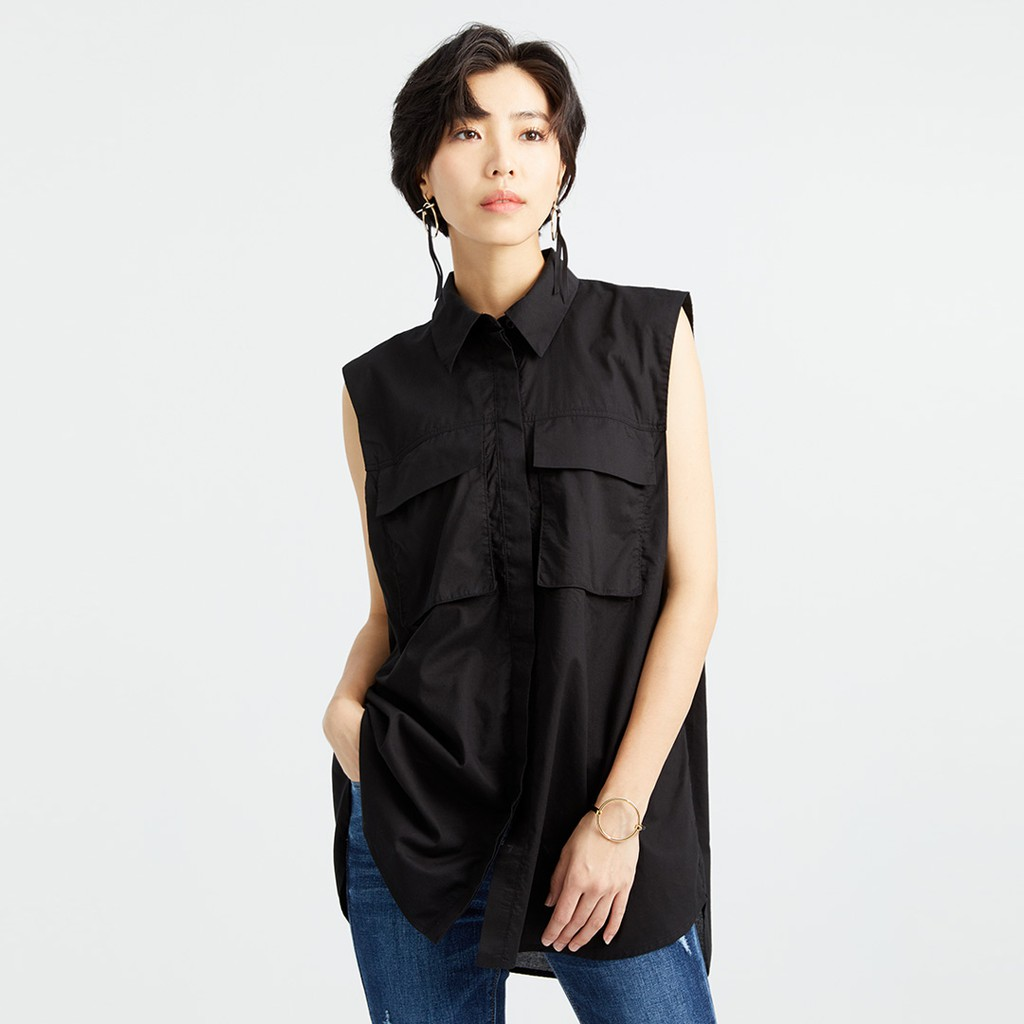 【ERSS】無袖大貼袋寬鬆長版襯衫  黑色  -女  K40023