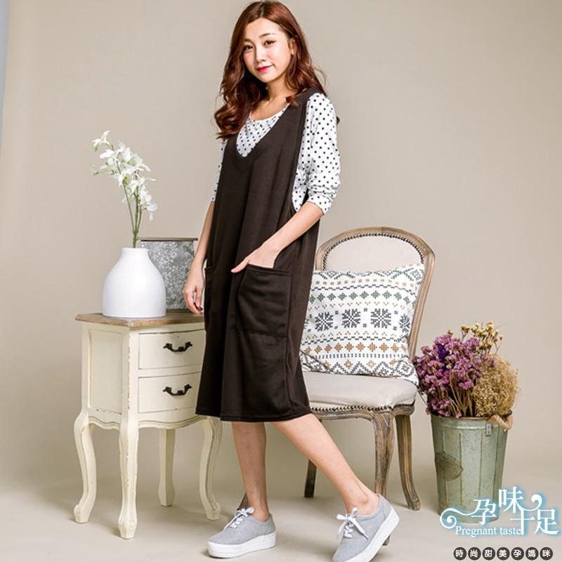 寬鬆素面寬肩大口袋吊帶裙 孕婦洋裝 三色台灣製【CPI1812】孕味十足