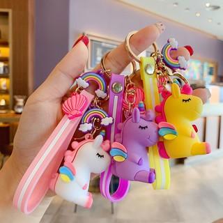 BM03 韓版創意彩虹獨角獸鑰匙扣可愛卡通少女系公仔鑰匙鏈包包掛件批發