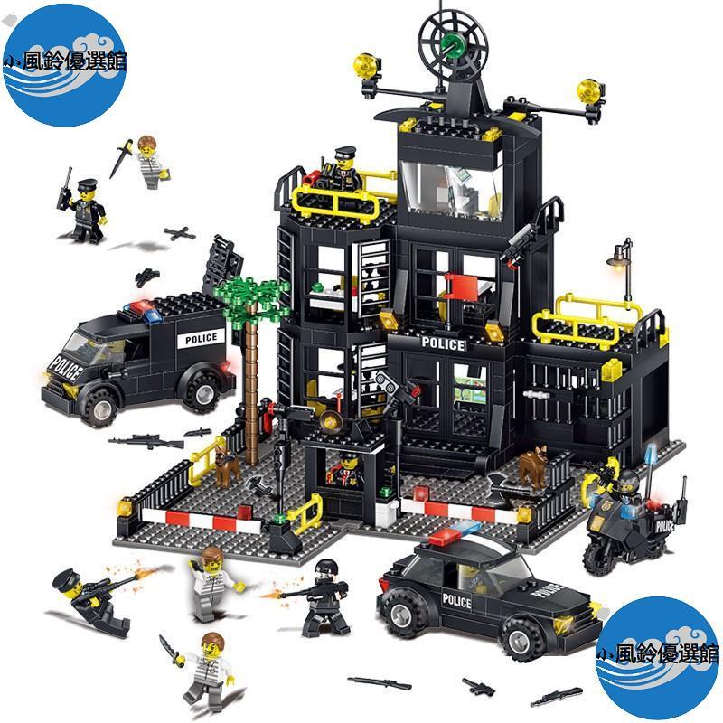 限時下殺推薦 城市警察系列積奇樂42017機變警察局大樓警車小顆粒益智力兒童拼裝積木玩具兼容樂高