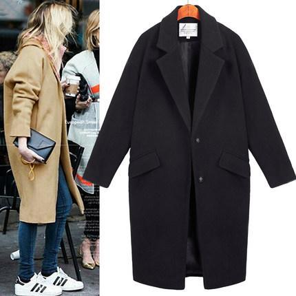 【特價】長版修身顯瘦繭型大衣外套