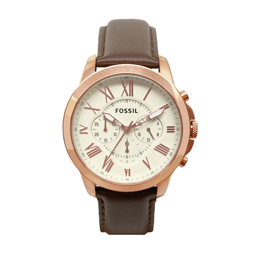 FOSSIL 原廠平行輸入手錶   羅馬時標計時多功能腕錶 - 玫瑰金X褐色 FS4991
