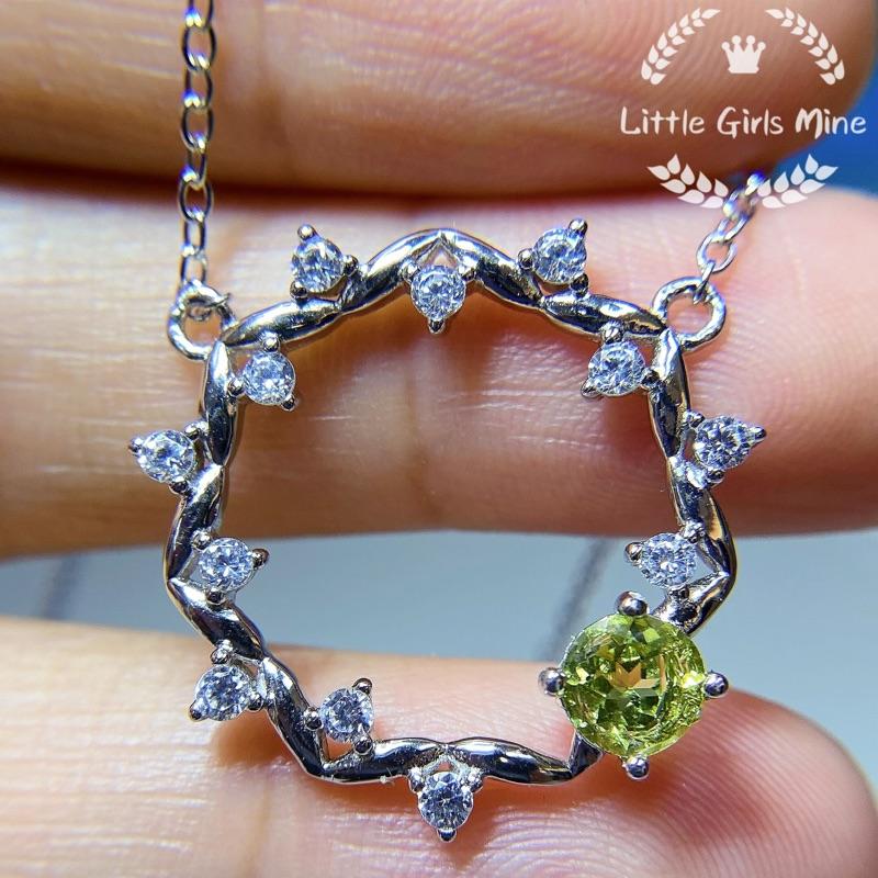 天然石-輕珠寶-春天盛宴系列-橄欖石頸鍊(純銀)