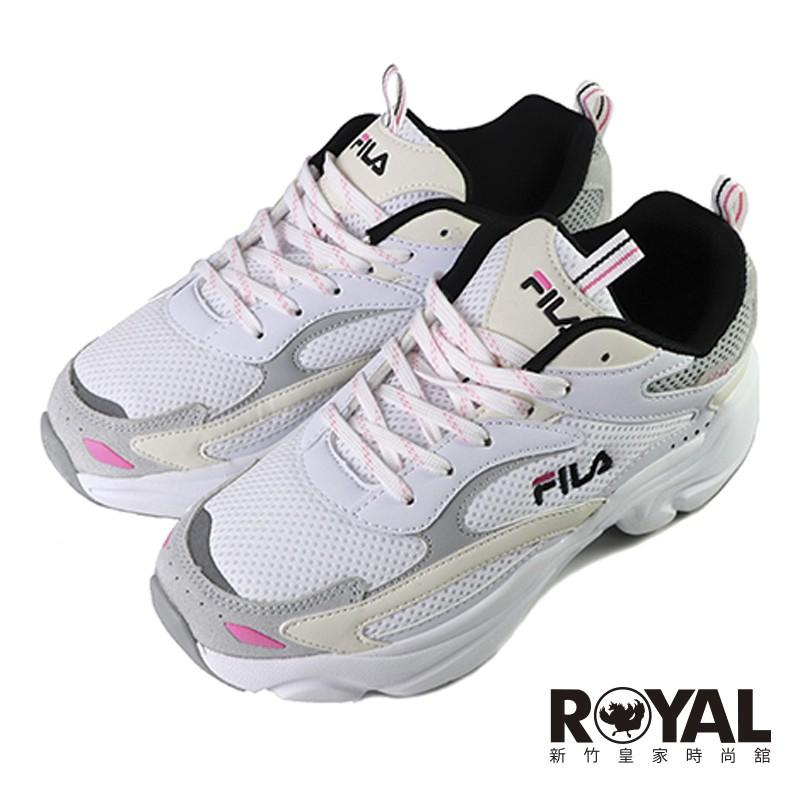 Fila 白色 網布 運動慢跑鞋 女款 NO.J0735【新竹皇家 5-J313-143】