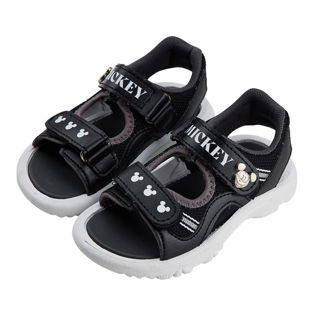 迪士尼童鞋 米奇 造型雙摩帶涼鞋-黑