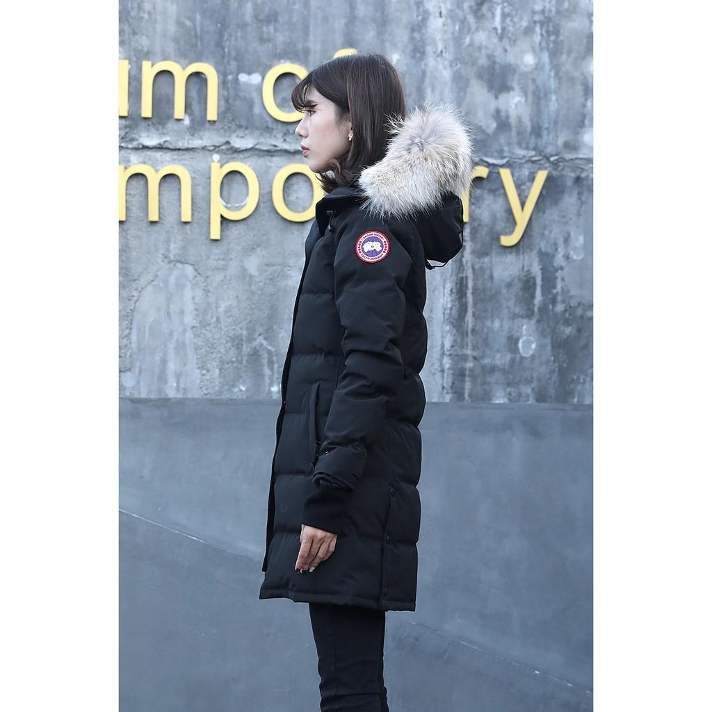 淘小丫 加拿大代購 CANADA GOOSE 加拿大鵝 女款修身長版  羽絨外套 保暖外套 加厚外套 抗寒﹣40℃ 黑色