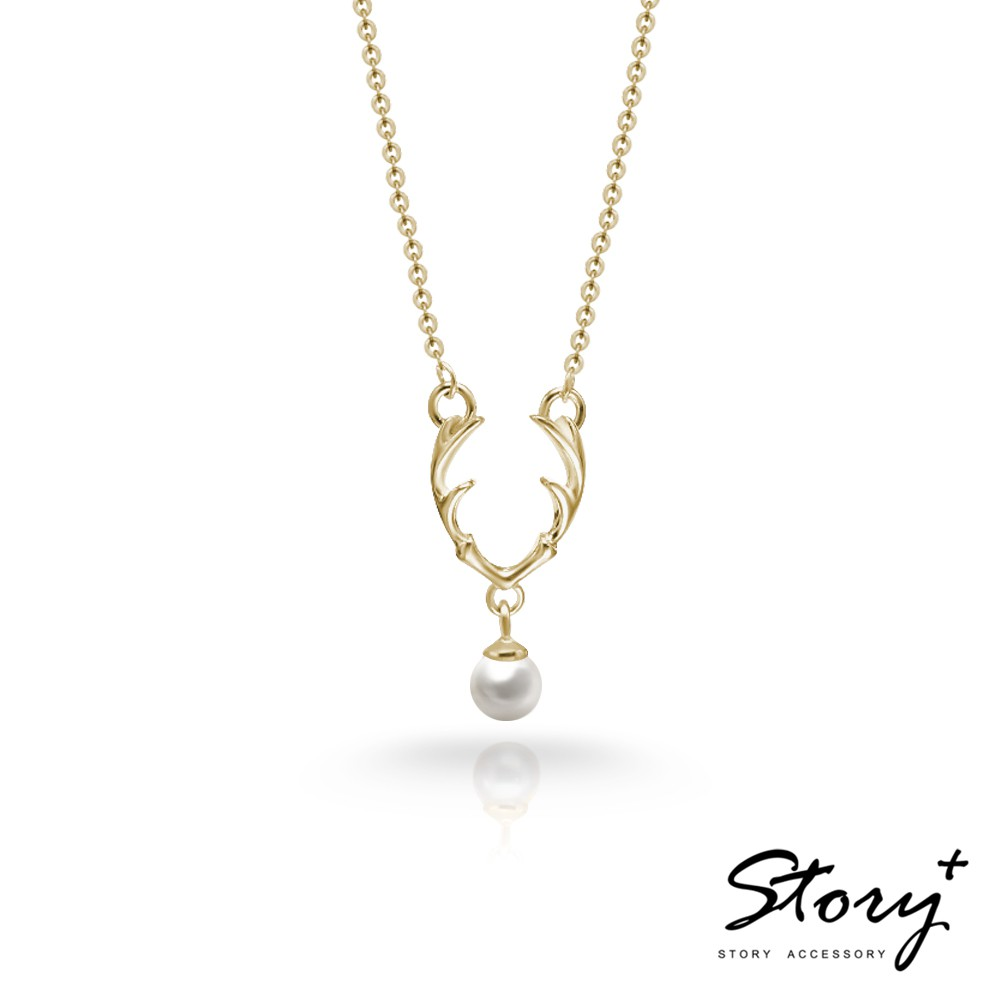 STORY故事銀飾-Dear麋鹿天然珍珠純銀項鍊(黃K金)
