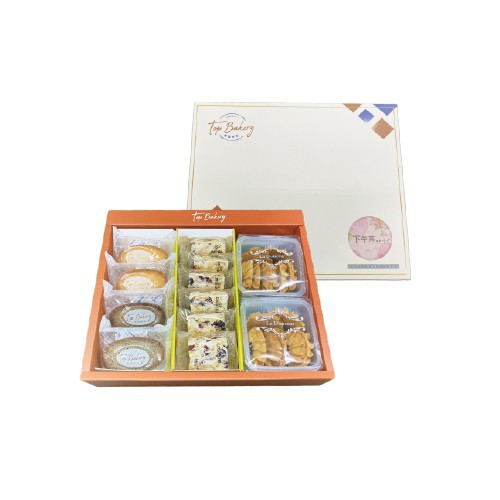 品名:唐璞烘焙經典下午茶禮盒(費南雪原味x2、芝麻x2、雪Q餅x6、小菊花餅乾巧克力X1草莓X1)