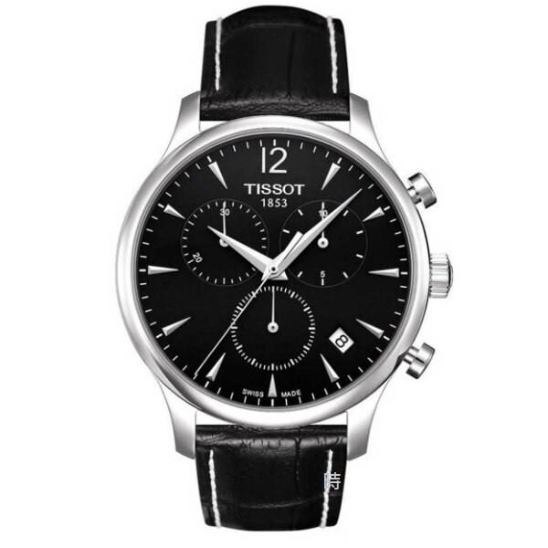 TISSOT 天梭 三眼計時石英手錶 T0636171605700 黑
