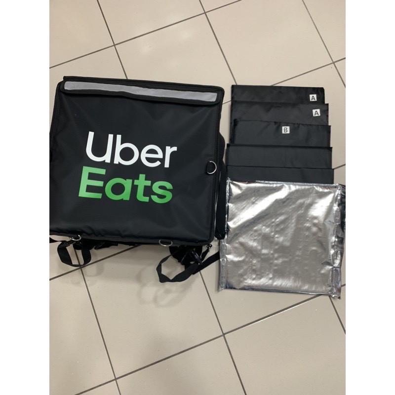 現貨最後-兩組9成新1650元/個UberEats 保溫袋 四代大包 上掀式官方保溫袋黑色白字綠字原廠保溫袋/包