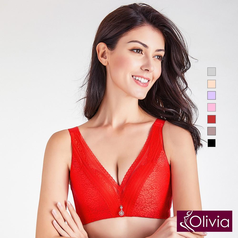 Olivia 無鋼圈3D立體深V綻放蕾絲內衣-紅色 廠商直送 現貨