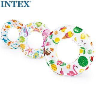 INTEX 游泳圈浮圈夏天玩水現貨 充氣沙INTEX幾何圖游泳圈沙灘必備 桃園市