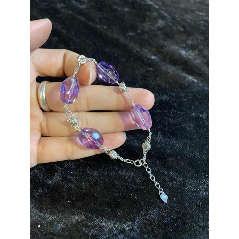 天然紫水晶切割純銀手鍊