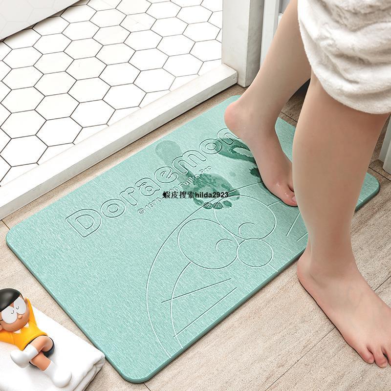 【原創】硅藻泥吸水墊防滑腳墊地墊硅藻土家用廁所浴室衛生間速幹 哆啦a夢