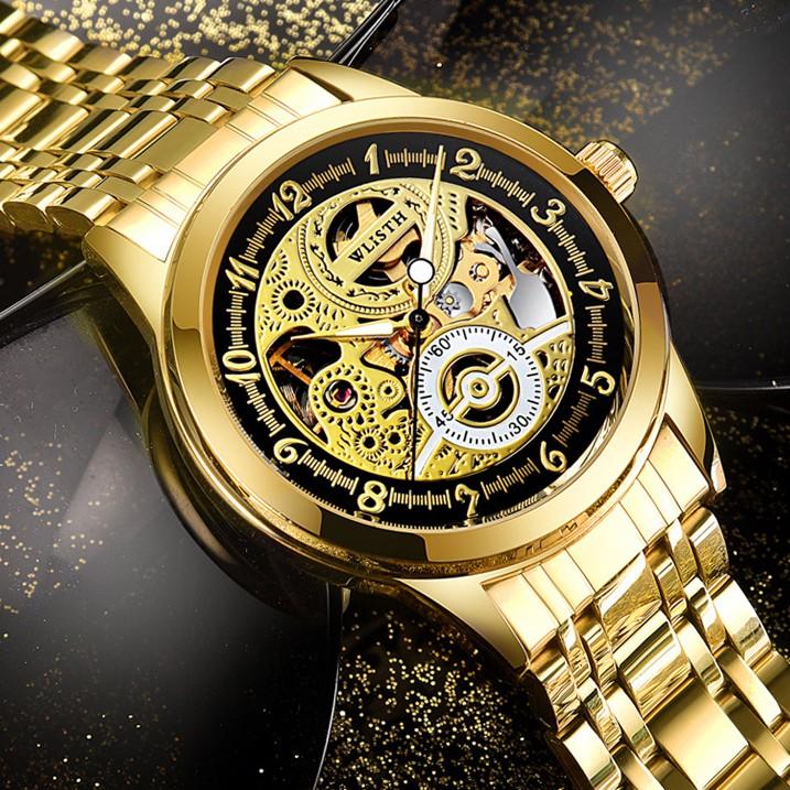 豪華自動手錶男士手錶金色機械表防水骨架夜光無光澤手錶