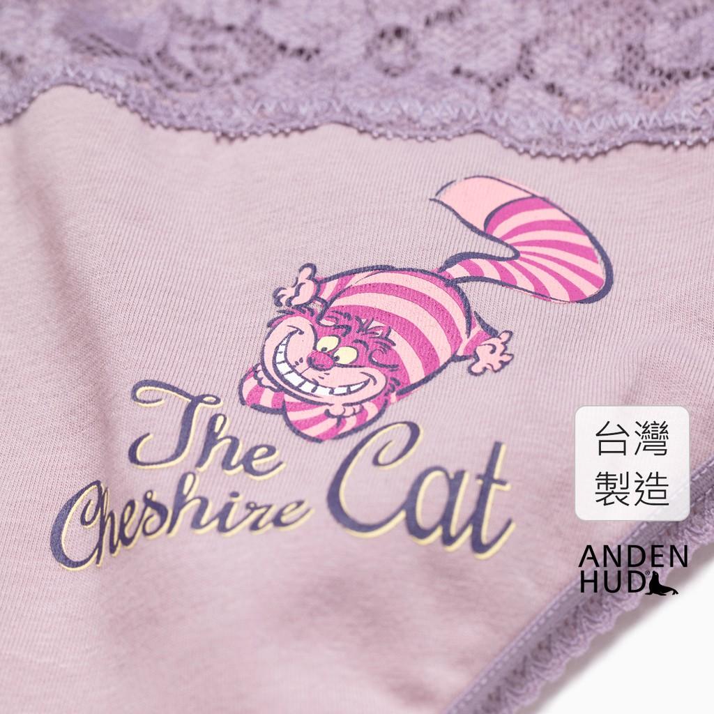 【Anden Hud】迪士尼暗黑系列.V蕾絲中腰三角內褲(粉紫-柴郡貓) 台灣製