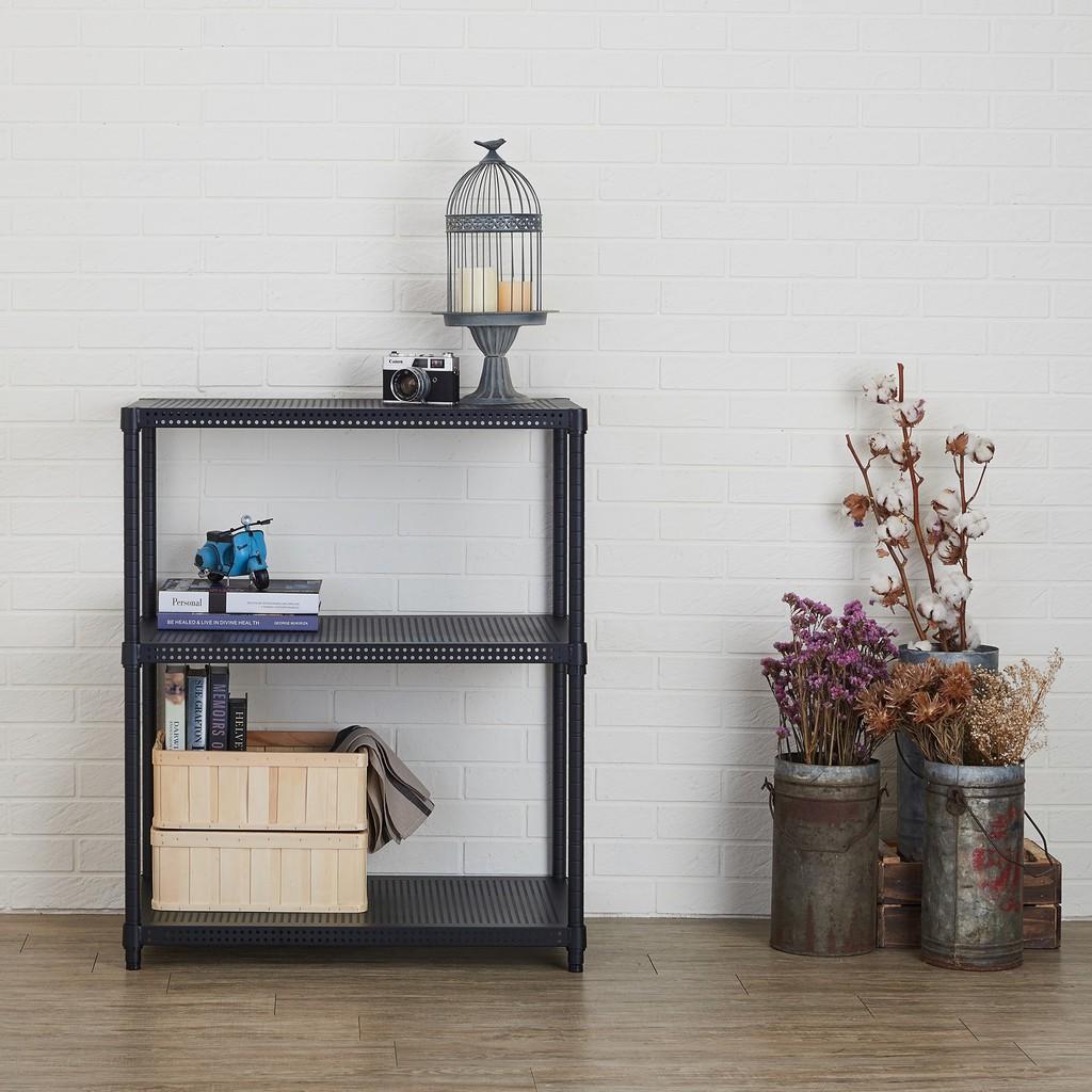 【鐵坊家具】46深 x 70寬 x 120高 三層黑色鐵架《另加購邊框/輪子洽客服》