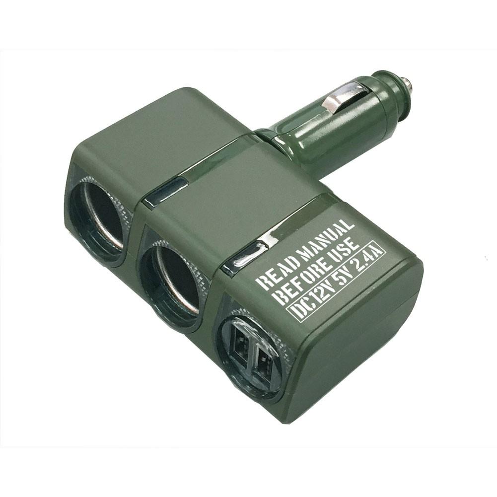 車之嚴選 cars_go 汽車用品【EN-12】2.4A雙USB+雙孔 直插90度可調角度式點煙器電源插座擴充器 軍綠色