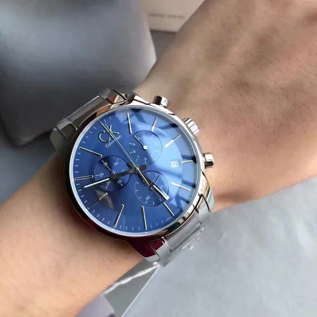 ck男錶Calvin Klein City系列大三眼多功能計時碼鋼帶男士腕錶K2G2714N